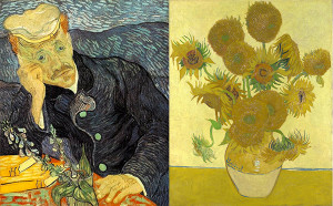 "Vincent Van Gogh's ""Portrait of Dr. Gachet"" and ""Vase with Fifteen Sunflowers"". Two paintings that were considered auction highs when they were purchased through Christies in 1990 and 1987."